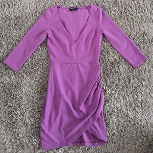 NastyGal Melody Bright Purple Ruched Bodycon Dress